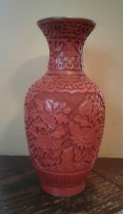 8 1 4 Vintage Chinese Cinnabar Lacquer Vase Deeply Carved Excellent Condition