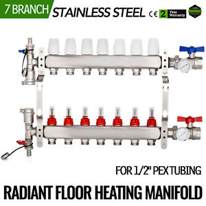 7 Branch 1 2 Pex Radiant Floor Heating Manifold Set Safe Stainless Steel