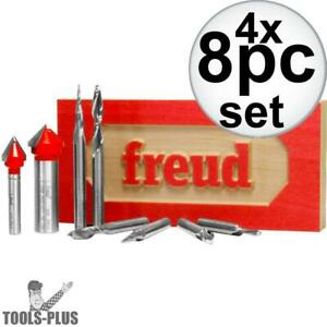 Freud 87 108 8 Piece Cnc Router Bit Signmaking Set 4x New