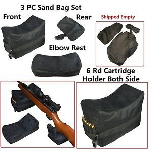 BEST 3PC Set Bench Rest Stand Shooting Range Sand Bags Front Rear and Elbow Rest