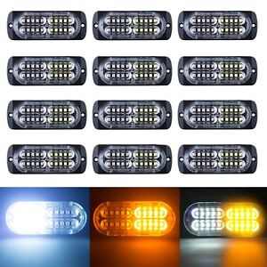 12x Car 20led Ultra Slim Surface Mount Flash Strobe Amber White Light Recovery