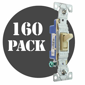Hubbell Rs115iz Toggle Switch 1 pole Grounding 15a 120v Ivory 160 pack