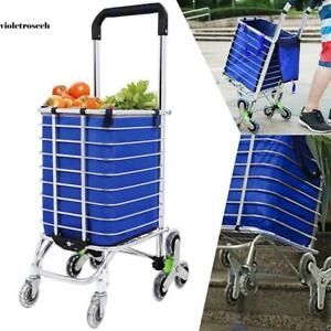 Large Urban Stair Climbing Cart 8 Wheel Fold Grocery Laundry Shopping Handcart