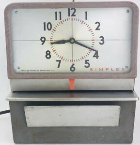Simplex Time Clock type 2 punch Card Employee Recorder Kcf 10r4 With Key Working