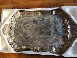 Tray International Silver Serving Footed Butlers Platter 23 Inches Nos Vintage