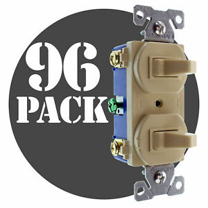 Hubbell Rc101iz Double Toggle Switch 2 1 pole 15a 120 277v Ivory 96 pack
