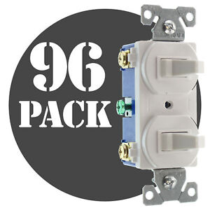 Hubbell Rc103wz Double Toggle Switch 1 p 3 way 15a 120 277v White 96 pk