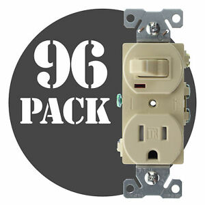 Hubbell Rc108itrz Combo Toggle Switch Receptacle Tr 15a 120v Ivory 96 pk