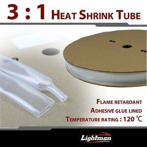32ft Heat Shrink Sleeving Tubing Tubes Adhesive Glue Lined Clear Weatherproof