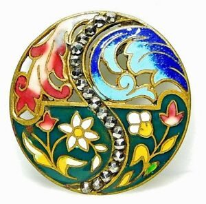 X Large Antique Champleve Enamel Button Colorful Pierced Brass W Cut Steel 19a1