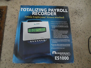Acroprint Es1000 Totalizing Digital Automatic Payroll Recorder Time Clock New