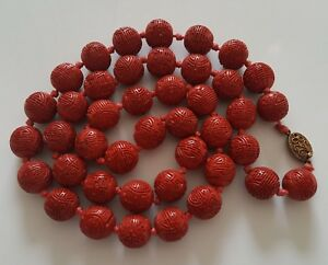 Antique Chinese Cinnabar Bead Necklace 31 5 Long 9 16 Wide Silver Clasp