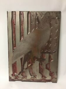 Vtg Patriotic American Flag Eagle Letterpress Printer s Block copper Over Metal