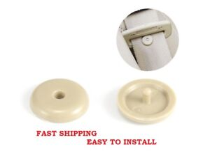Snaps On 2 Seat Belt Button Buckle Stop Anti Slip Stopper Tan Beige Easy Install