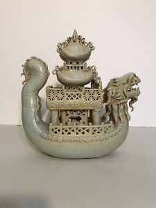 Antique Chinese Porcelain Dragon Boat With Pagoda And Figurines