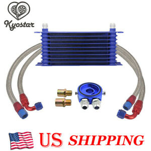 New Universal 10 Row An10 Engine Transmission Oil Cooler Filter Adapter Kit