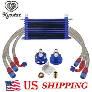 10 Row An10 Universal Engine Transmission Oil Cooler Kit Filter Relocation Kit