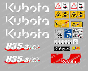 Kubota U35 3a2 Mini Digger Complete Decal Set With Safety Warning Signs