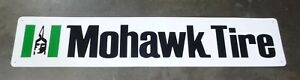 Mohawk Tire Large Vintage Gas Station Oil Green Aluminum Sign 62 x12