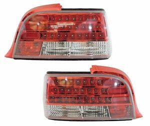 1992 1998 92 98 Bmw E36 2dr 3 Series Custom Disco Clear Lens Led Taillights Red