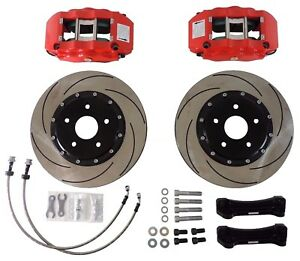 Front 6 Piston 13 Slotted Brake Rotors Kit W Red Caliper For 06 11 Honda Civic