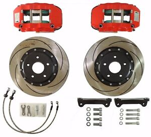 04 09 Vw Golf Mk5 Tdi Slotted Brake Rotors W Red Caliper 13 6 Piston 5 112