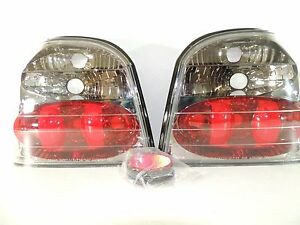 1991 1999 91 99 Volkswagen Vw Golf Mark Iii Mk3 Blk Chrome Taillight Assembly