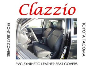 Clazzio Synthetic Leather Front Seat Covers For 16 19 Toyota Tacoma Double Cab
