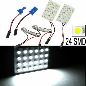 2x White 24 smd T10 Led Map Dome Panel Light Interior Conversion Kit Universal