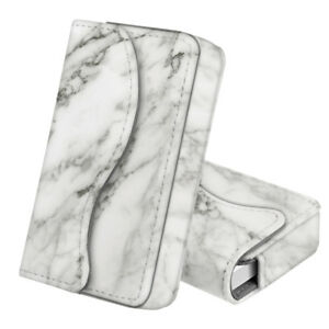 Business Card Holder Name Card Wallet Case Magnetic Closure Marble White