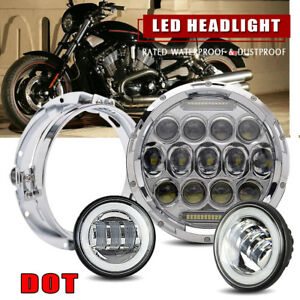 7 Led Motorcycle Halo Daymaker Projector Headlight Passing Fog Light For Harley