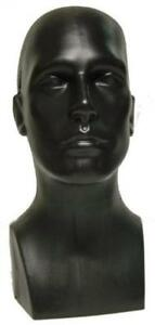 15 Tall Male Mannequin Head Durable Plastic Black 50013