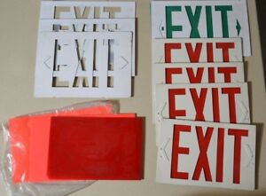Large Lot Of Exit Sign Fronts With Red Backing new