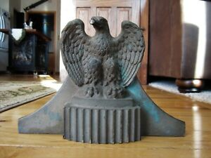 Antique Solid Bronze Architectural Salvage Eagle Victorian Americana Finial Base