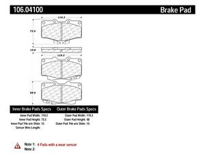 Disc Brake Pad Set Front Centric 106 04100 Fits 88 95 Toyota Pickup