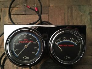 Vintage Sun Blue Line Oil Pressure And Water Temp Gauge And Panel 2 5 8
