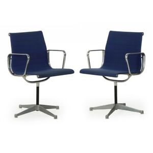 Pair Of Charles Ray Eames For Herman Miller Swivel Chairs Ea108 Circa 1960