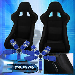 Black Bucket Racing Seats W Red Stitching 2x 5 Point Blue Seatbelt Harness