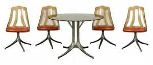 Howell 5 Piece Smoked Lucite Glass Top Dinette Set Clean
