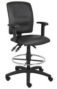 Multi function Leather Plus Drafting Stool With Adjustable Arms Black Chair