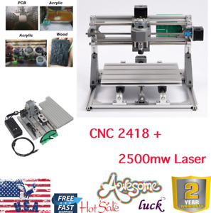 Cnc 2418 3 Axis Pcb Milling Wood Carving Engraving Machine Engraver 2500mw Laser