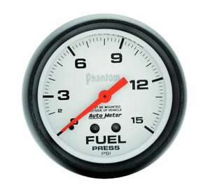 Auto Meter 2 5 8in Phantom Fuel Press Gauge 0 15psi