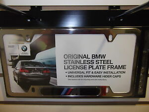 Bmw M Logo License Tag Plate Frame Chrome Stainless Steel Genuine 82120010405