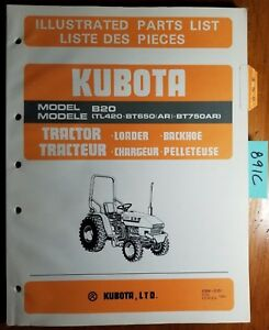Kubota B20 Tractor Loader Backhoe Tl420 Bt650 Bt750 Ar Illust Parts List Manual