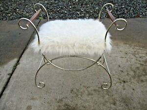 Vtg Hollywood Regency Bench Vanity Chair With Wood Handles