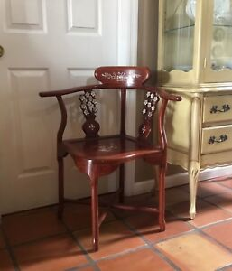 Vintage Chinese Rosewood And Inlaid Mother Of Pearl Corner Chair