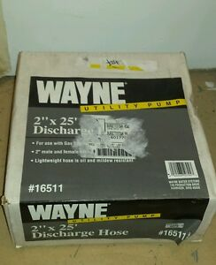 Nib Wayne 16511 Utility Pump Discharge 2 X 25 Pvc Flat Hose 2 Male Fittings