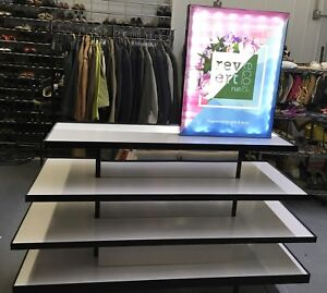 Four Tier Fragrance Type With Led Lighted Sign On Heavy Duty Locking Casters