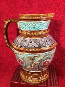 Pitcher Antique French Victorian Majolica Pitcher C 1800 S Fm1147