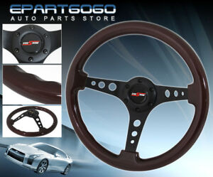 345mm Dark Wood Grain Black Circles Designed Steering Wheel Jdm Vip Button Logo